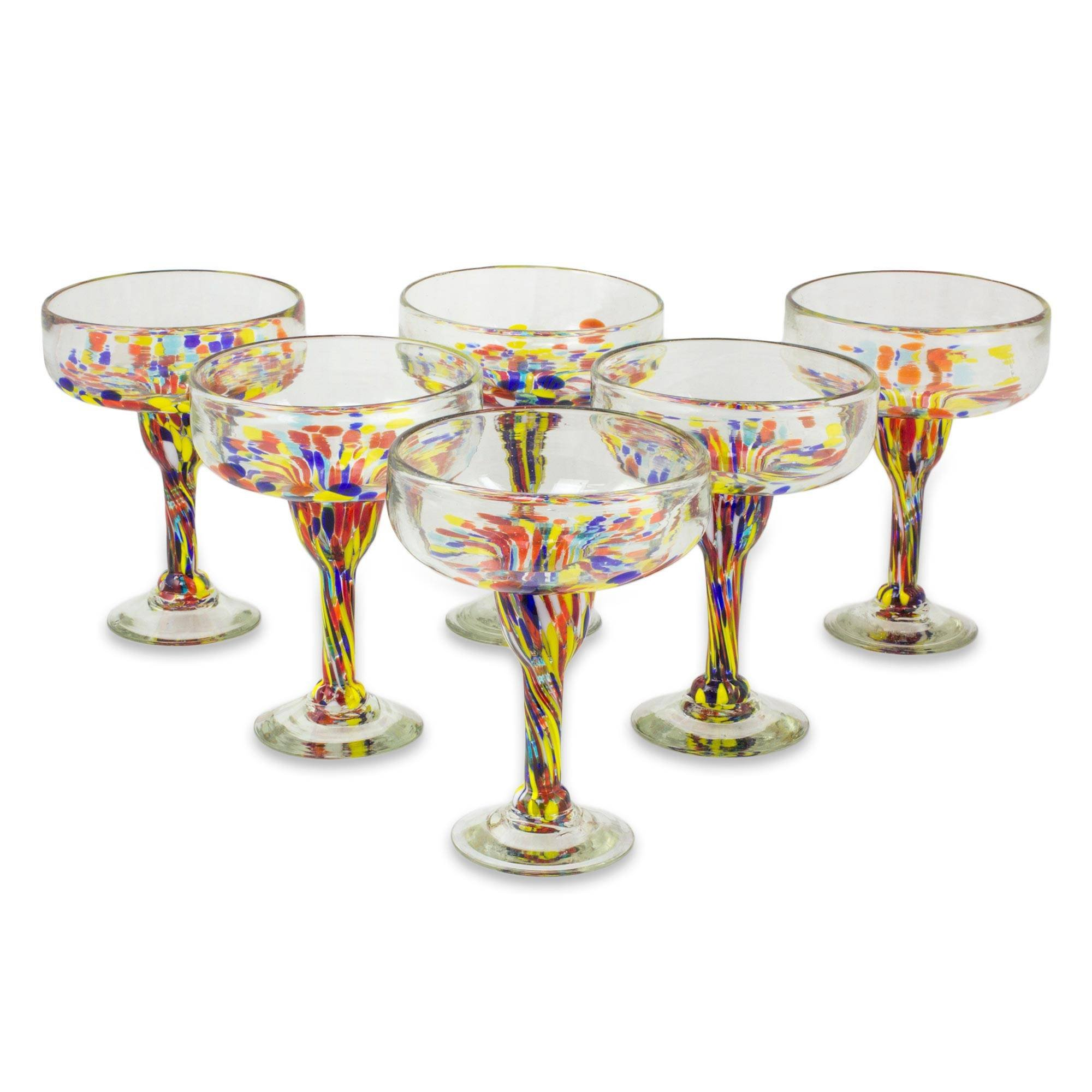 NOVICA Hand Blown Multicolor Eco-Friendly Glass Margarita Glasses, 13 oz. 'Confetti Festival' (set of 6)