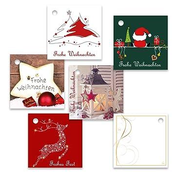 Frohe Weihnachten Anhänger.25er Pack Geschenkanhänger Frohe Weihnachten Ca 55 X 55 Mm Verschiedene Motive Weihnachtsanhänger Geschenkkärtchen Anhänger Geschenkkarte