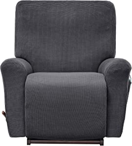 AlGaiety Stretch Recliner Slipcover Sofa Cover 4 Separate Pieces/1 Set Spandex Jacquard Fabric Furniture Protector Couch Cover with Elastic Bottom for Living Room(Recliner, Charcoal)