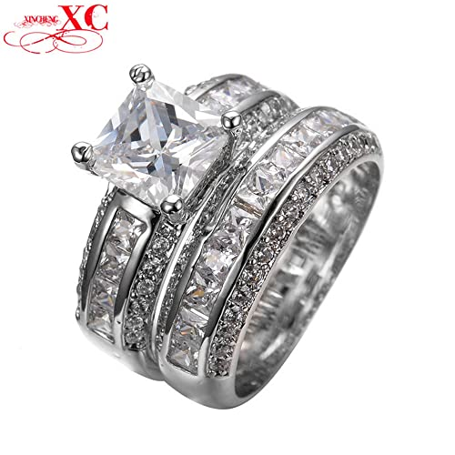 Amazon Com Gdshop Vintage Princess Cut White Sapphire Jewelry Women