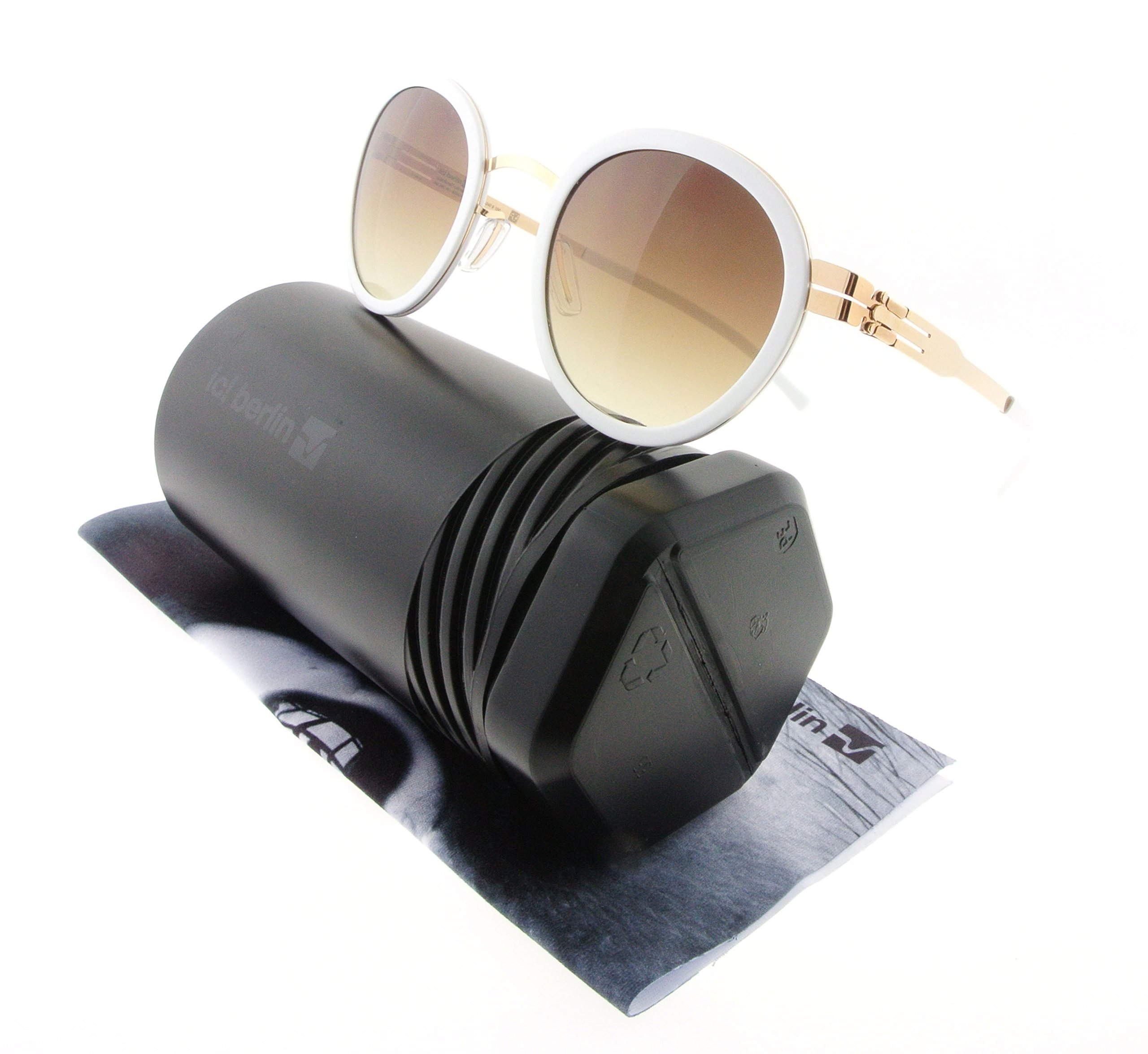 ic! Berlin Sunglasses S42 Wedding Gold & White with Brown / Sand Nylon Lenses
