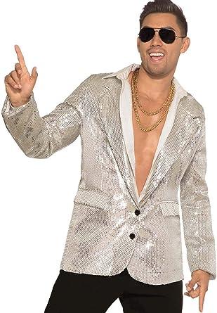 Medium Silver Men/'s Sequin Jacket Satin Collar 70s Disco Fancy Dress
