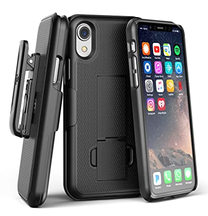 san francisco 95b0f bc77d Encased iPhone XR Belt Clip Holster Case, Ultra Slim (DuraClip) Rubberized  Grip Thin Fit Protective Hard Cover Holder - Black
