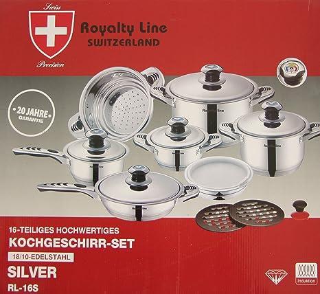 Millerhaus Royal Line Switzerland 16 piezas, Batería de cocina de alta calidad, con base