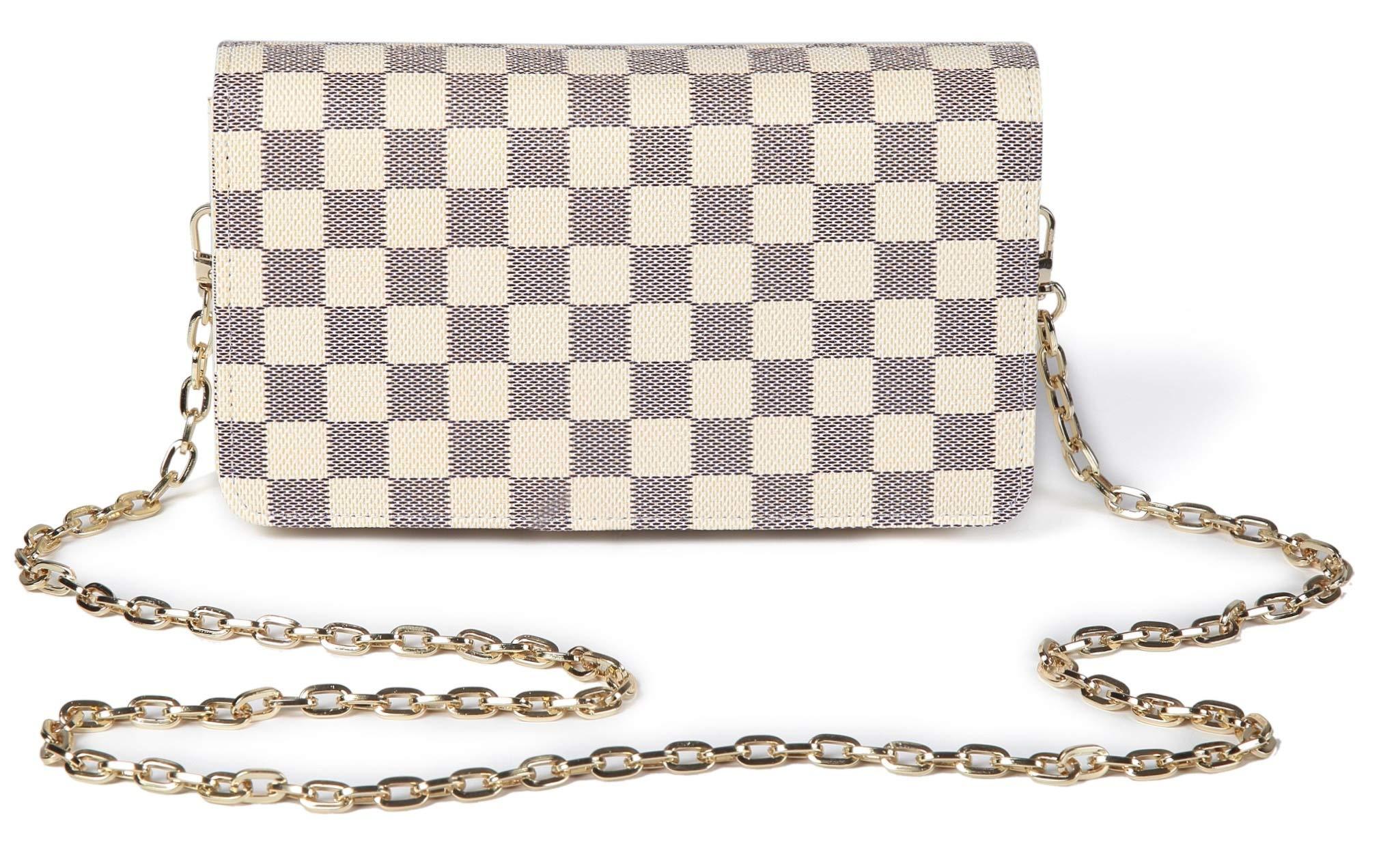 Daisy Rose Checkered Cross body bag - RFID Blocking with Credit Card slots clutch -PU Vegan Leather (CREAM)