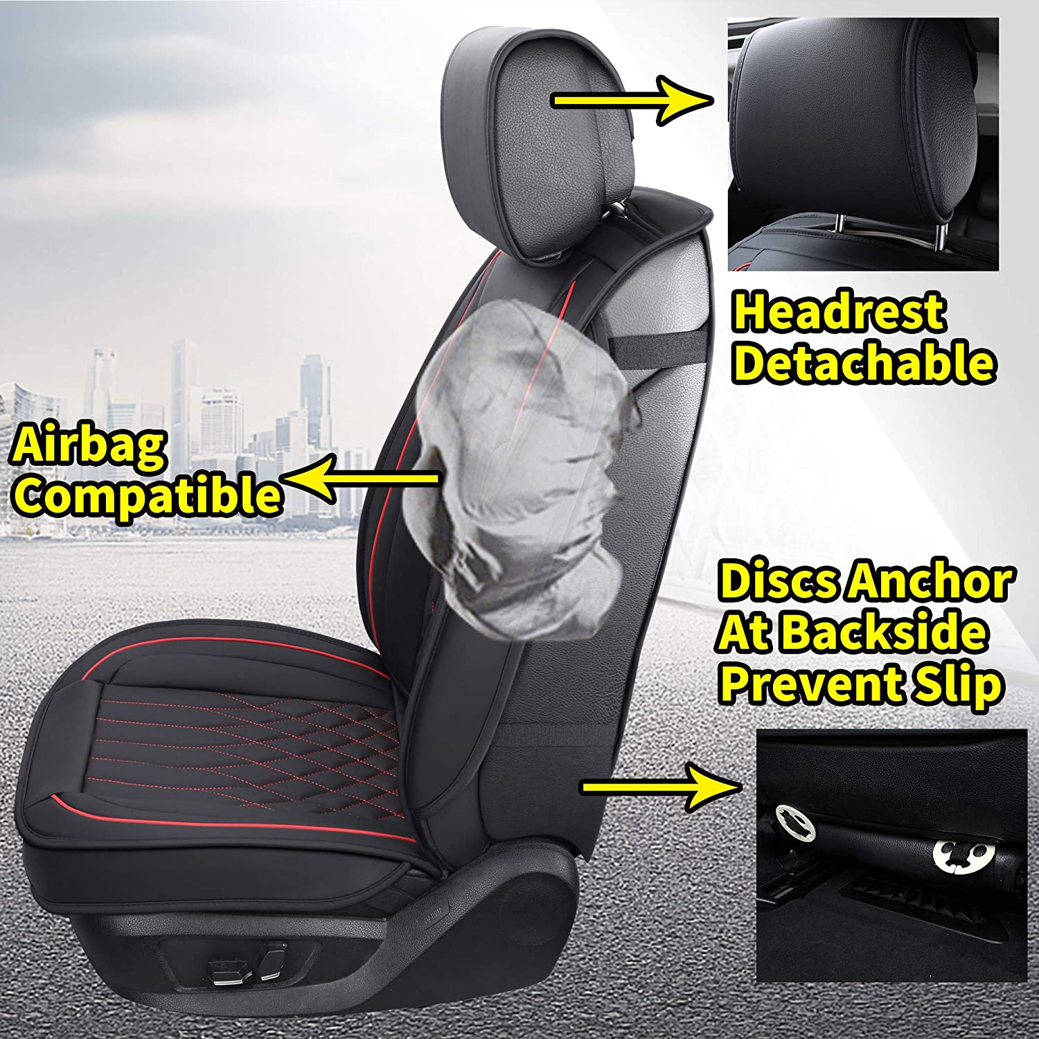 Universal Fit for Most Sedan SUV and Truck 2 PCS Front, Black and Red Aierxuan 2 Car Seat Cover Front Seat with Waterproof Leather