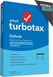 TurboTax Deluxe 2020 Desktop Tax Software, Federal and State Returns + Federal E-file (State E-file Additional) [Amazon Exclusive] [PC/Mac Disc]