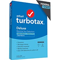 TurboTax Deluxe 2020 Desktop Tax Software, Federal and State Returns + Federal E-file [Amazon Exclusive] [PC/Mac Disc]