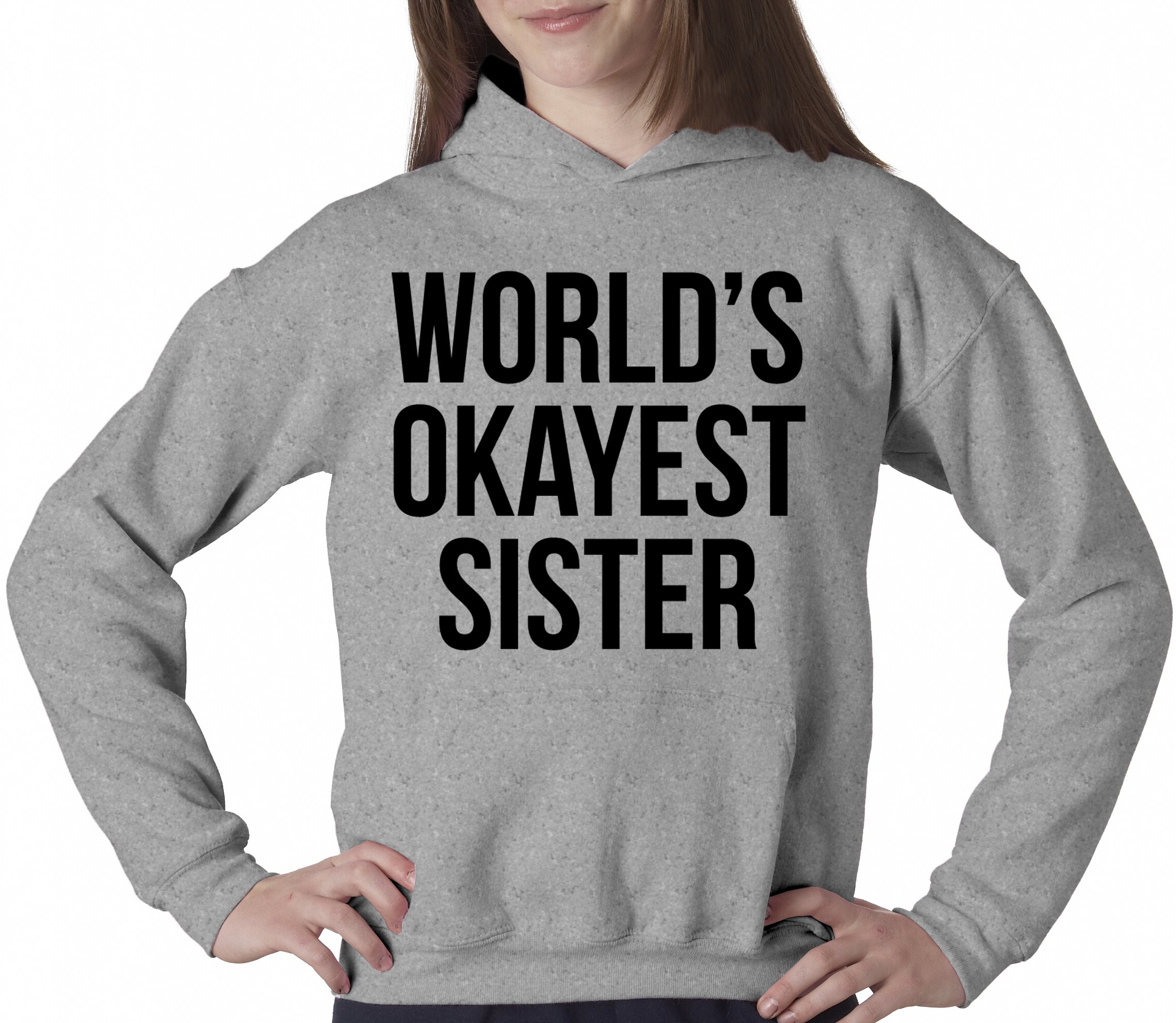 200b07ba1 Crazy Dog T-Shirts World's Okayest Sister Hoodie Funny Siblings Sweatshirt for  Sisters (Heather Grey) - L