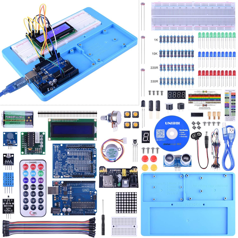 UNIROI UNO Starter Kit for Arduino, Complete Arduino Kit for Beginner with Detailed Tutorials, RAB Holder, Breadboard for Arduino UNO R3 Arduino Mega 2560 Arduino Nano Robot (52 Items) UA005