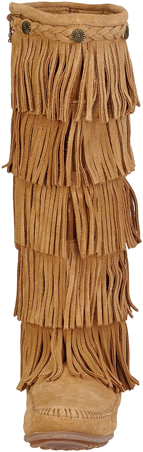 Minnetonka Women's Layer Fringe Boot B01BNZWDPK 5 B(M) US|Taupe