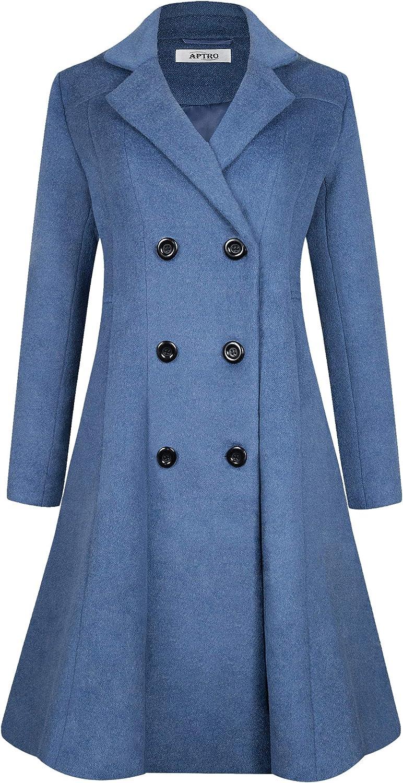APTRO Womens Wool Coat Double-Breasted Winter Warm Jacket Outwear Coat WS02 Blue S