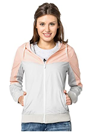 Sublevel Leichte Damen Jacke im Colorblock Style mit Kapuze