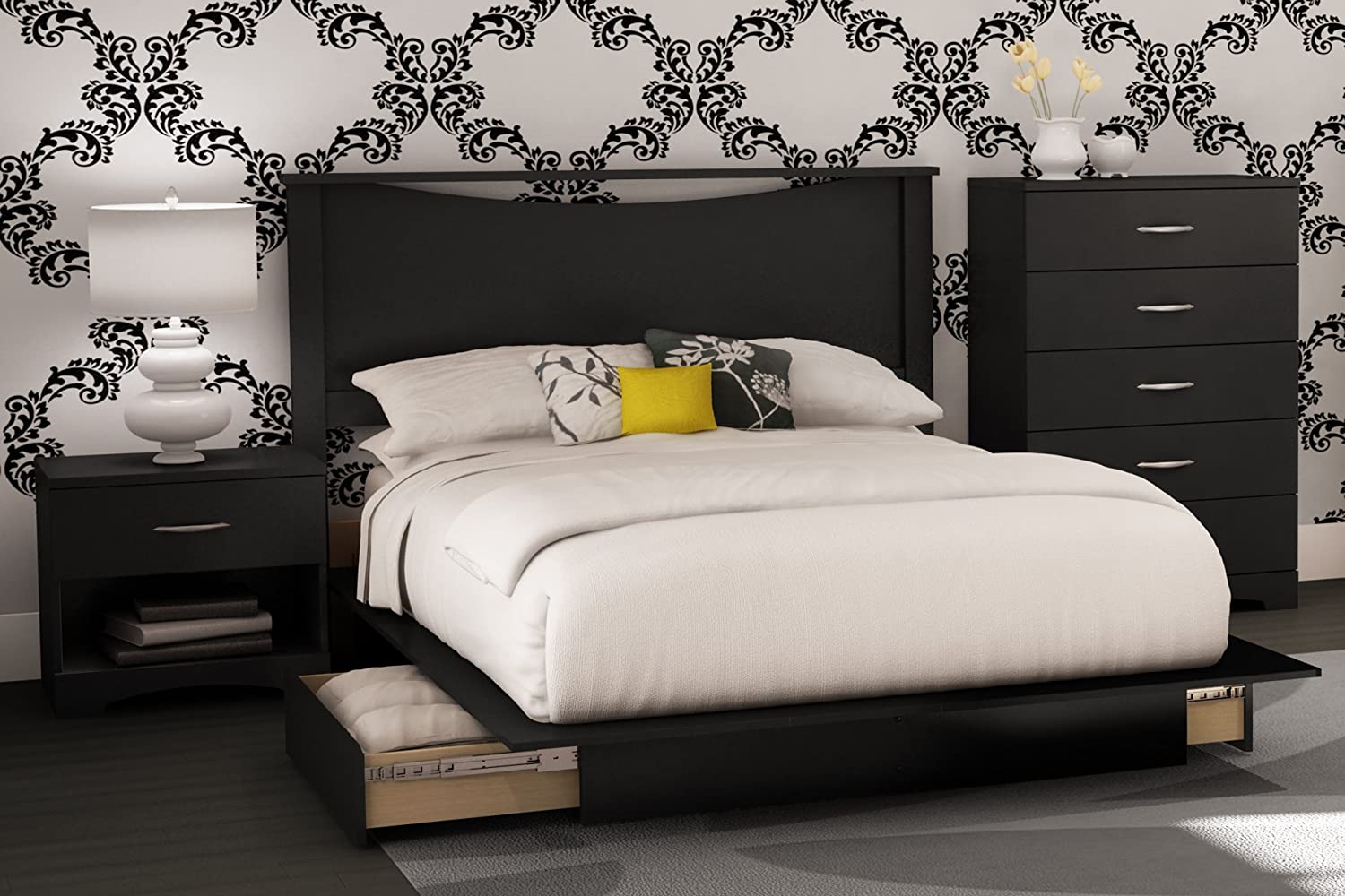 Amazon.com: South Shore Bedroom Set Step One Collection, Black, 4 Piece:  Kitchen U0026 Dining