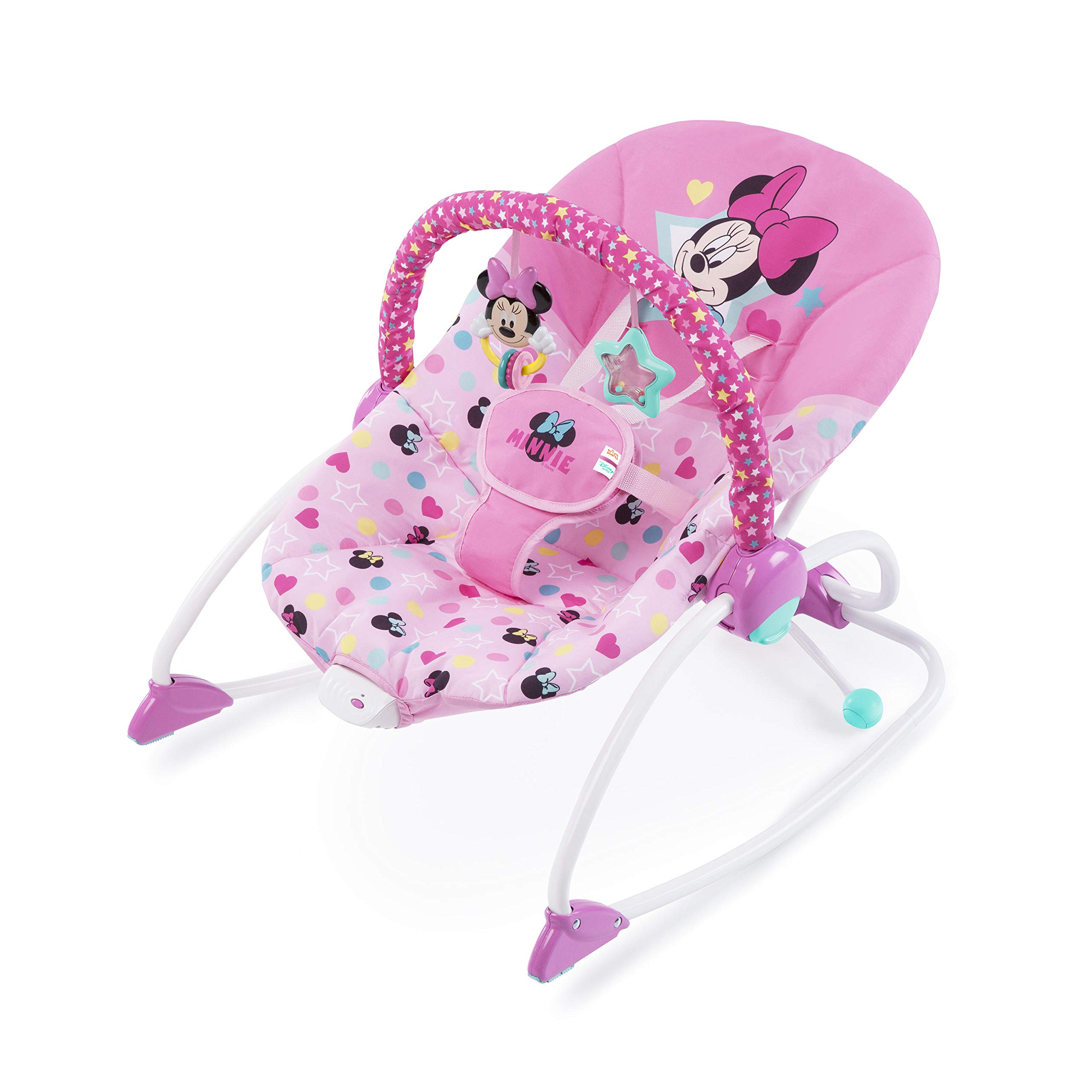 Minnie Mouse Stars and Smiles Baby Girl Infant to Toddler Activity and Entertainment Rocker with Removable Toy Bar in Pink by Minnie Mouse
