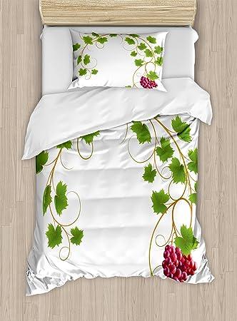 Uvas decoración del hogar edredón por Ambesonne, curva Ivy Rama Hoja ...