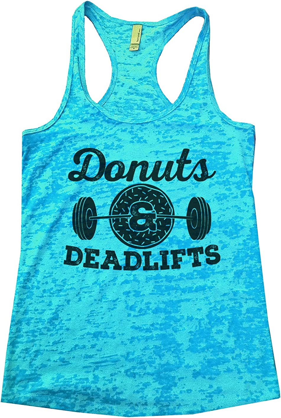 "Funny Threadz Womens Burnout Tank Top ""Donuts & Deadlifts"" Funny Food Tank Top"