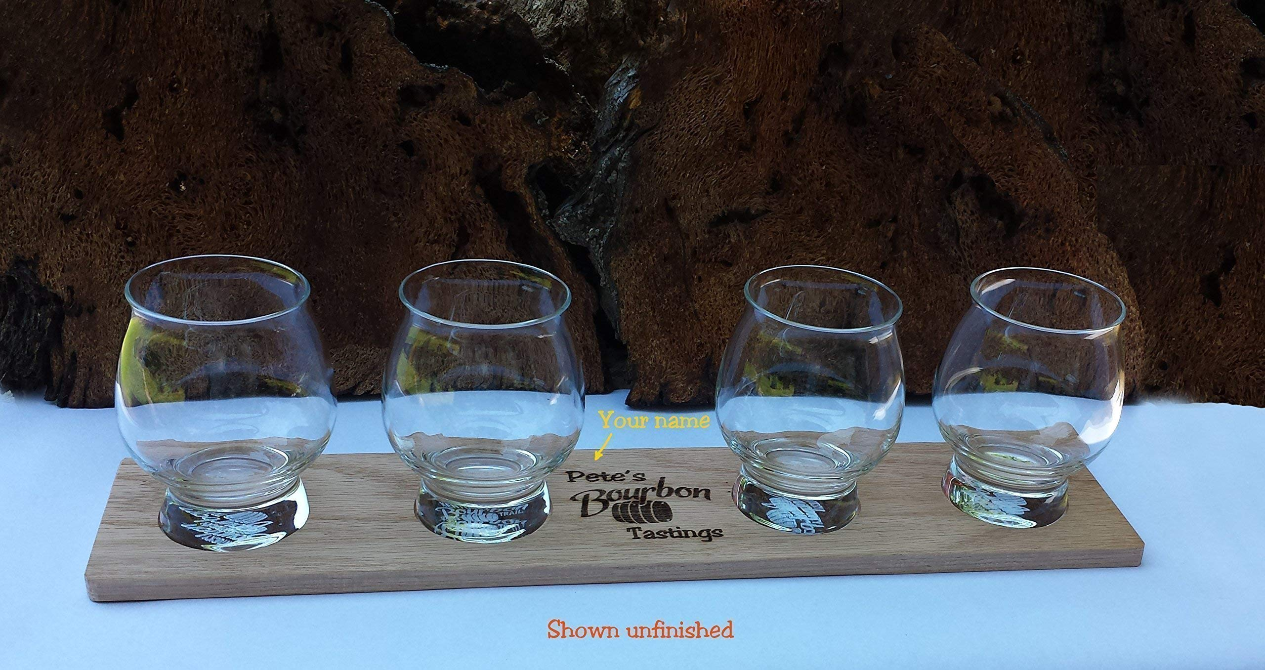 Laser Engraved Personalized Oak Bourbon Tasting Tray with glasses by Precision Wood Carving (Image #1)