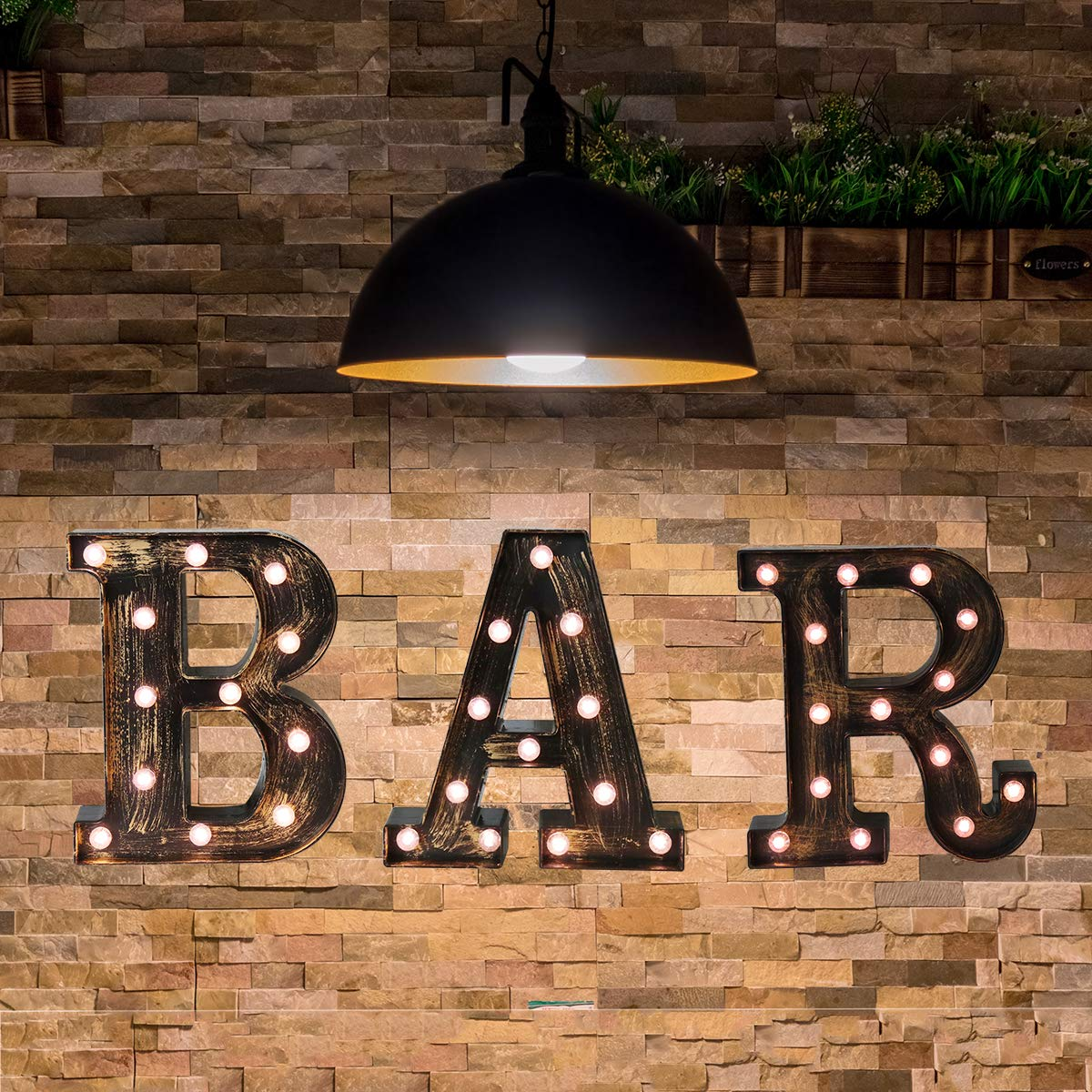 Industrial LED Marquee Letter Lights Alphabet Light Up BAR Sign Vintage Style Letter Lamp for Birthday Party Christmas Perfect for Events or Home Bar Decor(BAR Combination)
