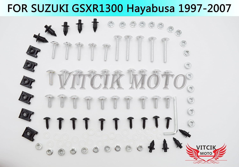 Azul /& Plata VITCIK Kit Completo de Tornillos y Pernos de Carenado para GSXR1300 GSX-R 1300 GSXR 1300 Hayabusa 1997-2007 Clips de Sujeci/ón en Aluminio CNC de La Motocicleta