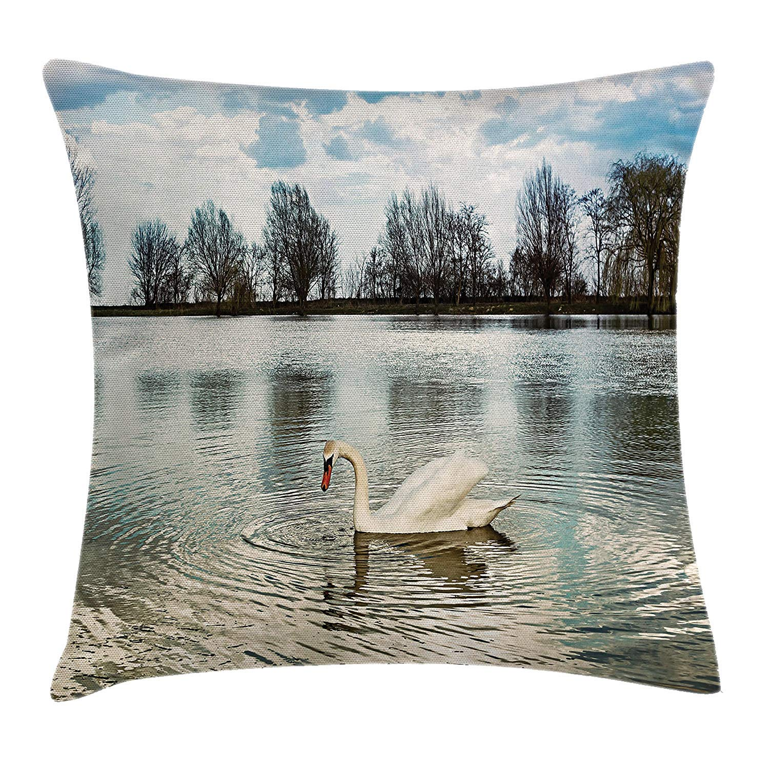 Swan Throw Pillow Cushion Cover, Swan Swimming Alone Water ...