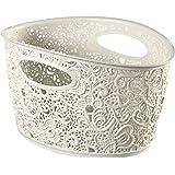 Crema decorative VICTORIA cesta con motivo floral de plástico