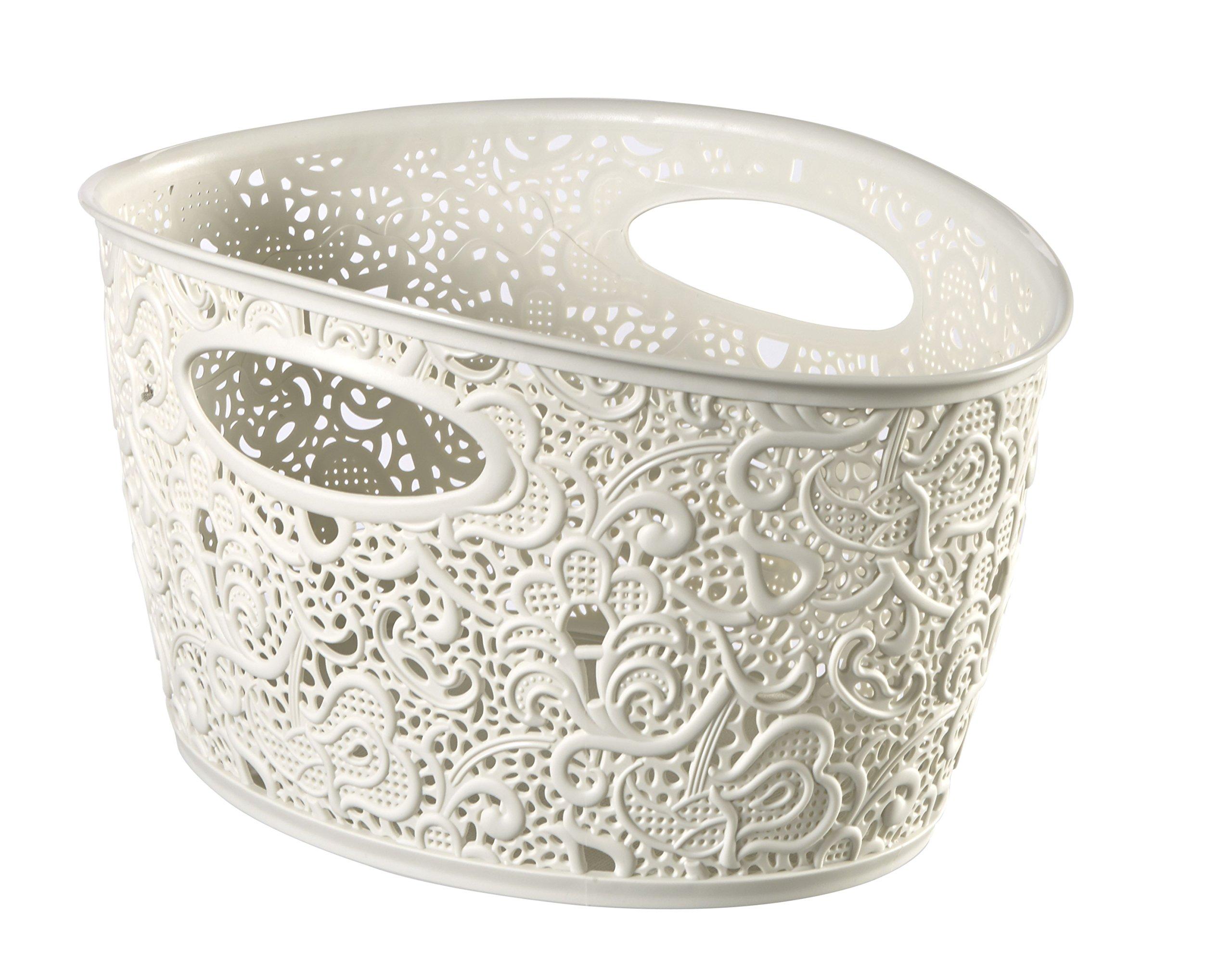 CURVER Crema Decorative Victoria Cesta con Motivo Floral de plástico product image