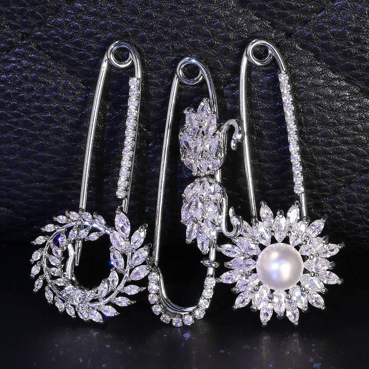 Jovivi 3pcs Clear Cubic Zirconia Crystal Floral Feather Safety Pin Brooches Suit Sweater Scarves Scarf Brooch Charm by Jovivi (Image #2)