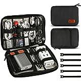 Jamber universale cavo da viaggio borsa organizer elettronica accessori custodia da trasporto 5PCS box con fascette, Nero