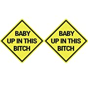Rogue River Tactical 2X Baby Up in This Bitch Sticker Funny Auto Decal Bumper Vehicle Safety Sticker Sign for Car Truck SUV
