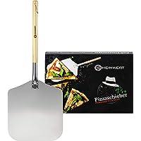 HEIMWERT Pizza spade pizzalagring – solid och extremt robust stor pizzaspel tillverkad av metall och trä I pizzaserver…