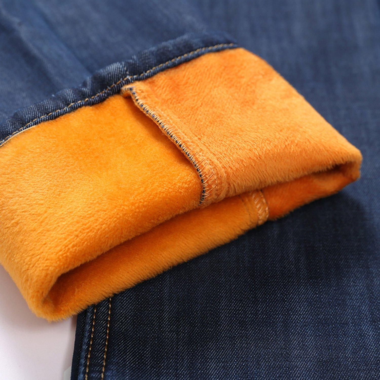 Winter Thick Stitch Skinny Men Jean Warm Trouser