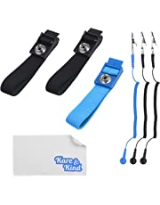 Kare & Kind (3-Pack) Anti-Static Wrist Straps - Reusable - Equipped with Grounding Wire and Alligator Clip - Adjustable Straps, Extra Long Coiled Cord - For Sensitive Electronics, PC and Phone Repairs