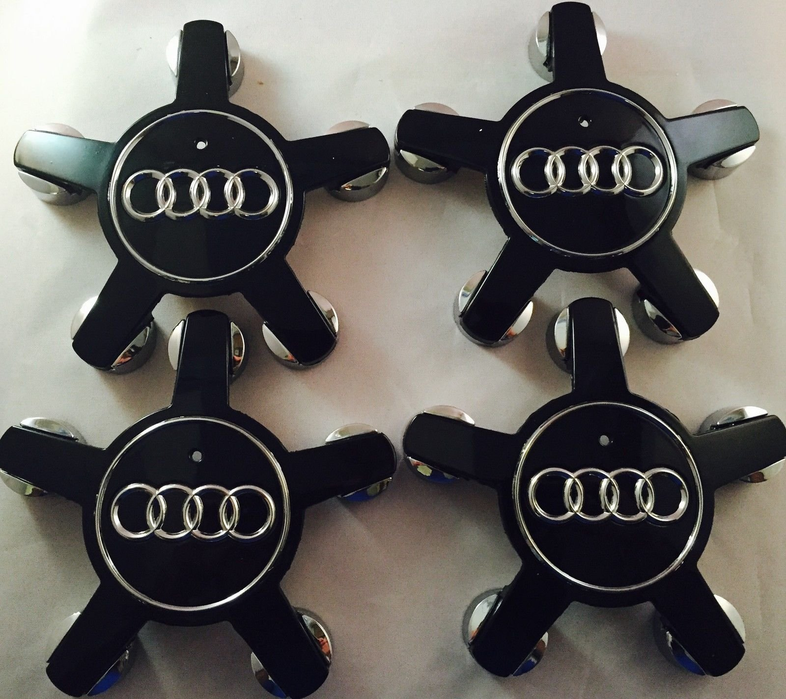 4pcs. AUDI WHEEL CENTER CAP A4 S4 S5 A5 A6 S6 S8 Q5 Q7 TT hub caps SET BLACK