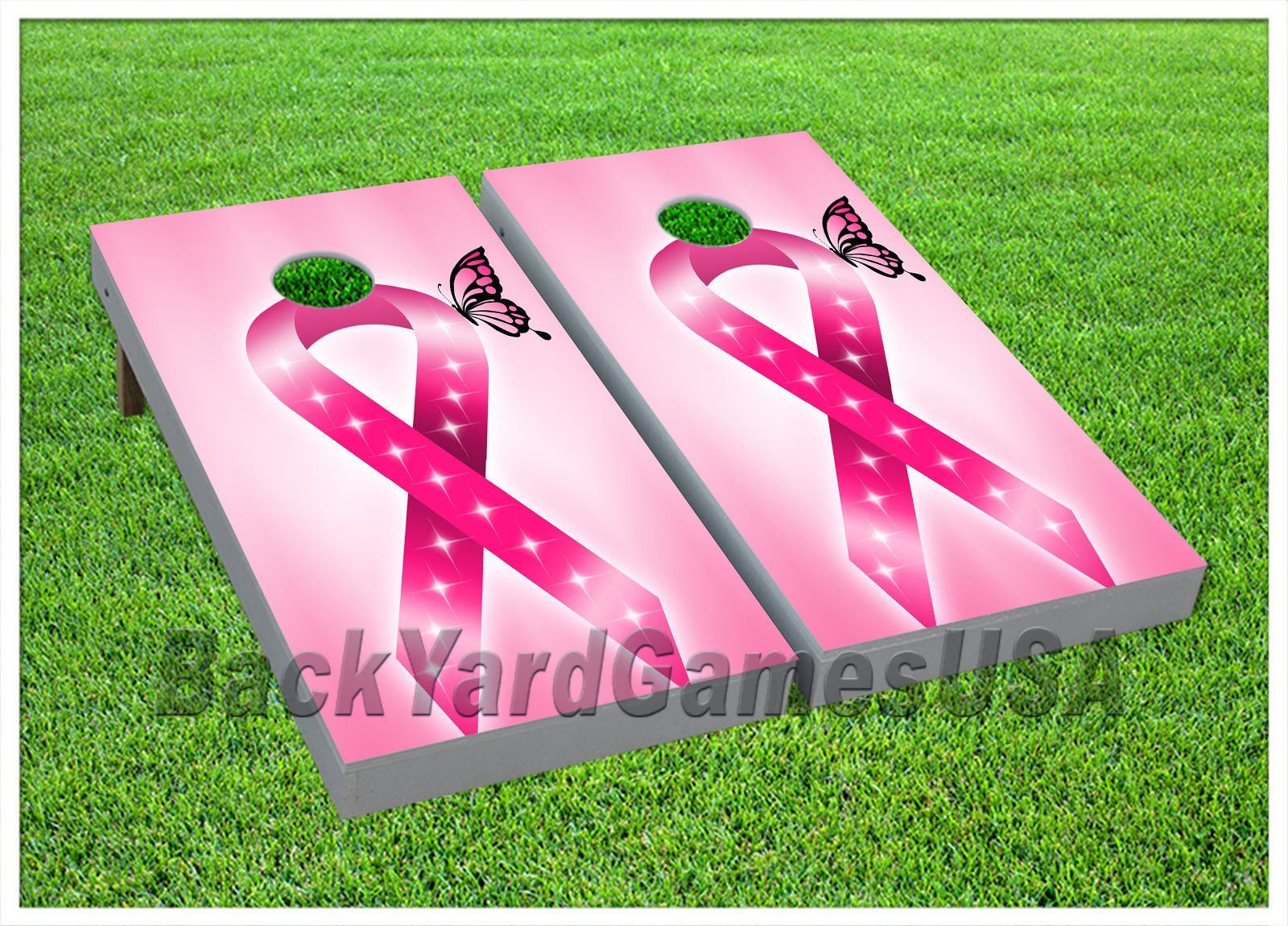 Cornhole Beanbag Toss Game W Bags Game Boards Breast Cancer Awareness Set 924