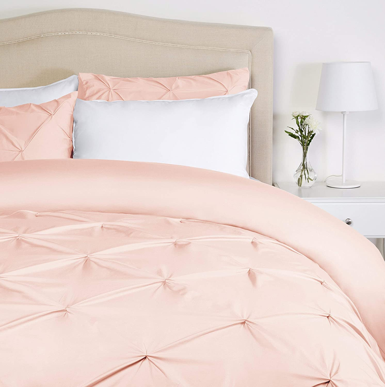 Pinzon Pinch-Pleat Duvet Cover Set, King, Blush