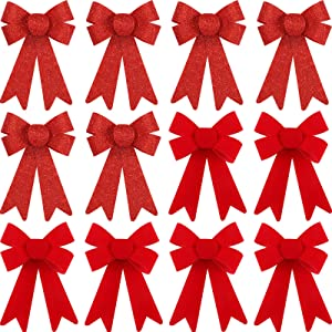 WILLBOND 12 Pieces Christmas PVC Plastic Bows Red Shiny Holiday Decorative Bows for Christmas Party Decoration, 5 x 7 Inch