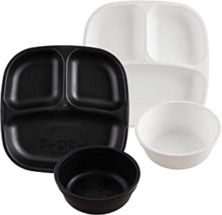 product image for Re-Play Made in USA 4pk Starter Dining Set of 2 Divided Plates with 2 Matching Bowls in Black and White. Made from Eco Friendly Heavyweight Recycled Milk Jugs -Virtually Indestructible!
