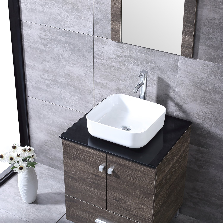 Sliverylake 72 Bathroom Vanity Wood Cabinet Double Round Ceramic Sink Modern Design w//Mirror NEW