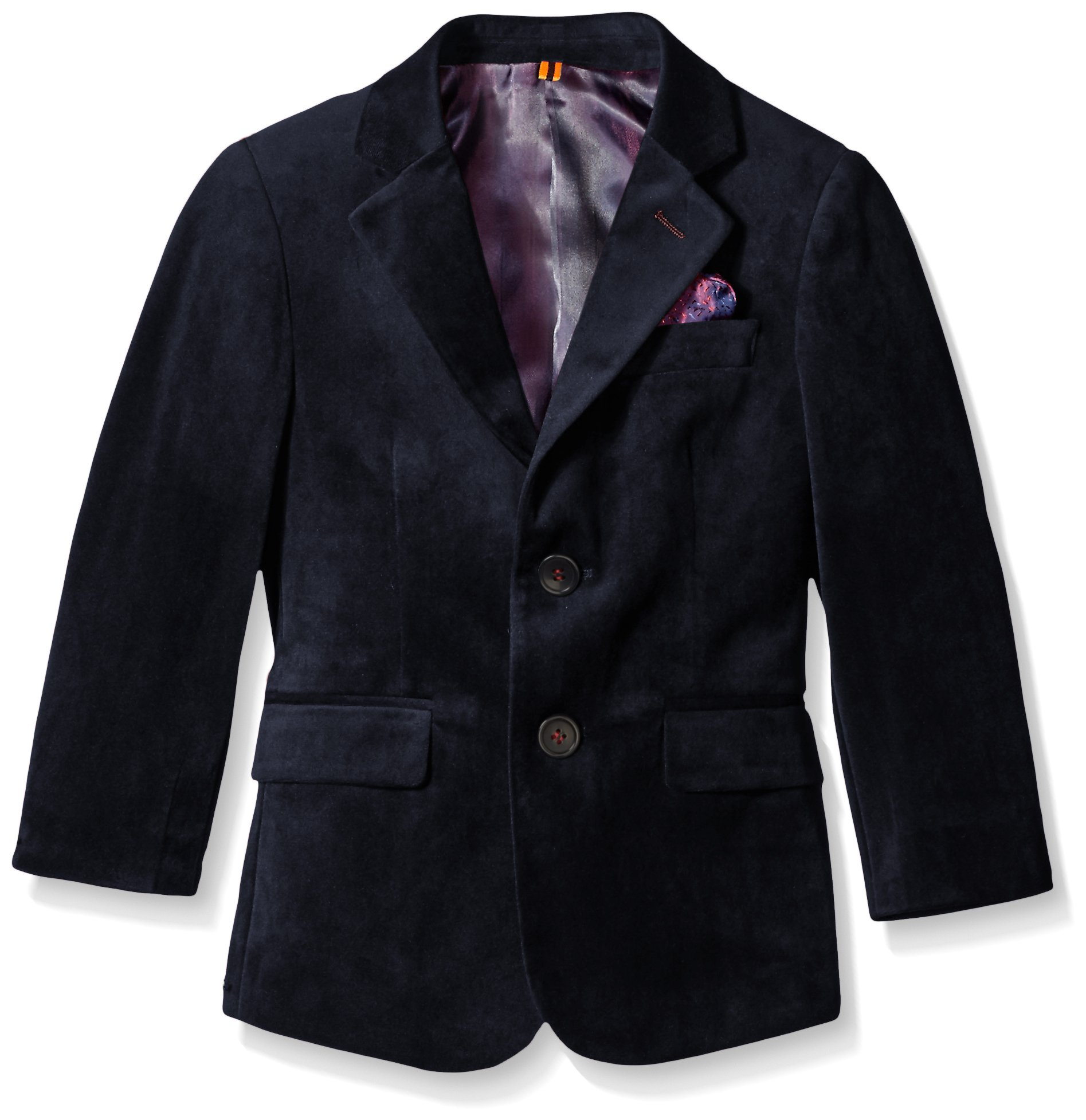 Isaac Mizrahi Boys' Big Boys' Single-Breasted Velvet Blazer, True Navy, 18 by Isaac Mizrahi