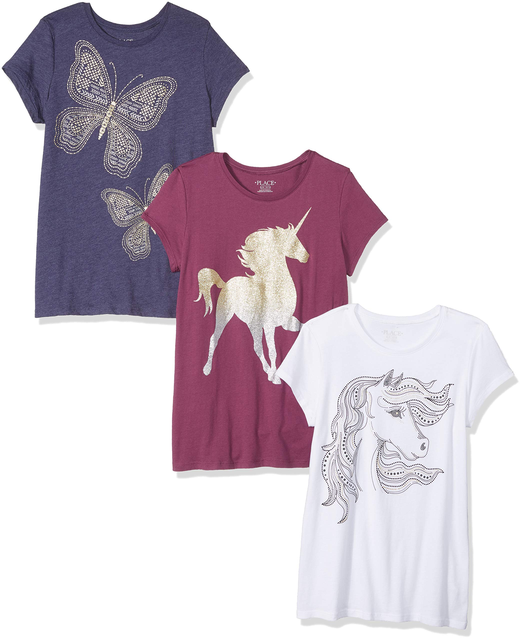 The Children's Place Girls' Big Short Sleeve Graphic Tees, Multi CLR, XL (14)