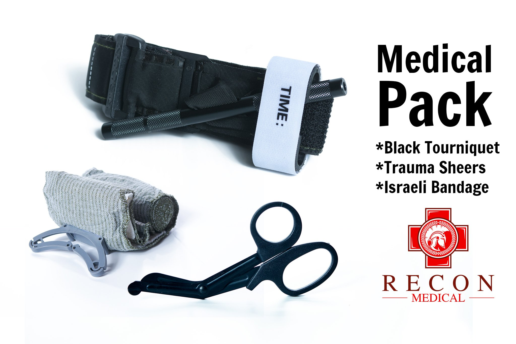 Recon Medical Pack -Includes Recon Medical Gen 3 Black Tourniquet Kevlar, Titanium Trauma Shears, Trauma Bandage First Aid Tactical SWAT Medic Pre-Hospital Life Saving Hemorrhage Control