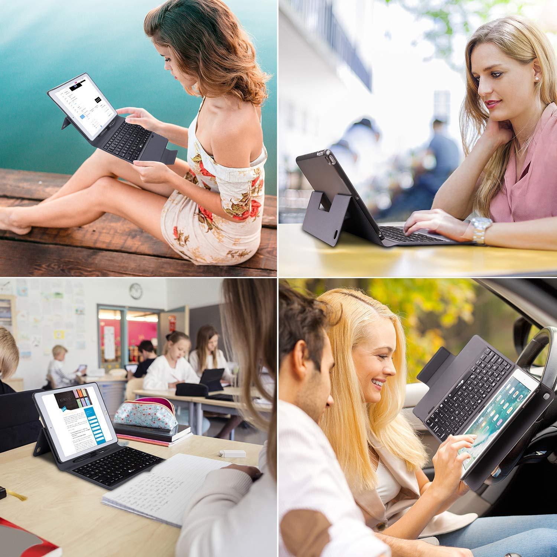 iPad Keyboard Case 9.7 for iPad 2018 (6th Gen) - iPad 2017 (5th Gen) - iPad Pro 9.7 - iPad Air 2 & 1 - Bluetooth Wireless BT 7 Color RGB Backlit & Thin & Light iPad Case with Keyboard, Pencil Holder