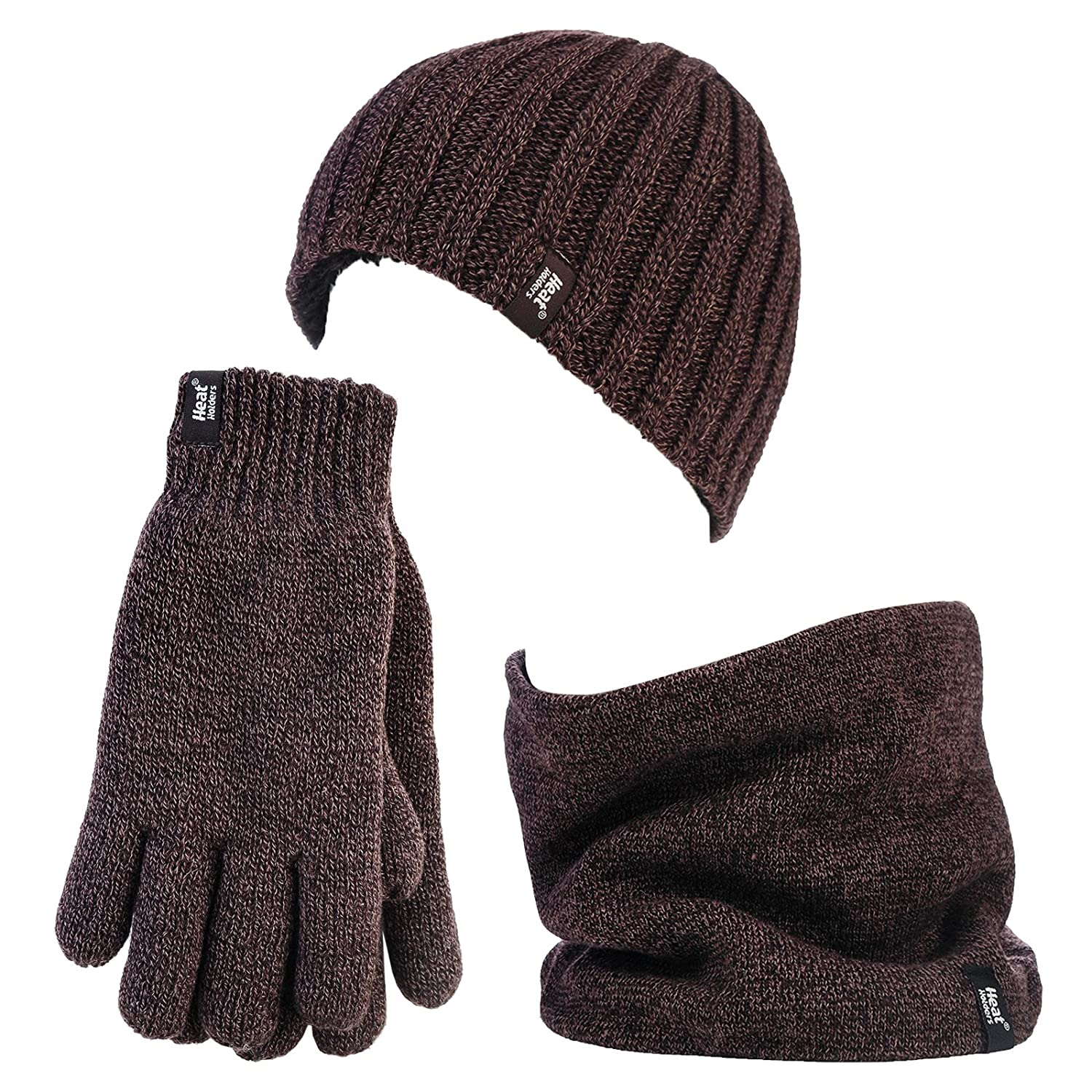 Heat Holders - Thermal Cable knit Hat, Neck Warmer and Gloves set for Men
