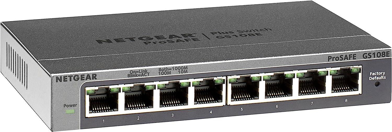 NETGEAR 8-Port Gigabit Ethernet Smart Managed Plus Switch (GS108Ev3) - Desktop, and ProSAFE Limited Lifetime Protection