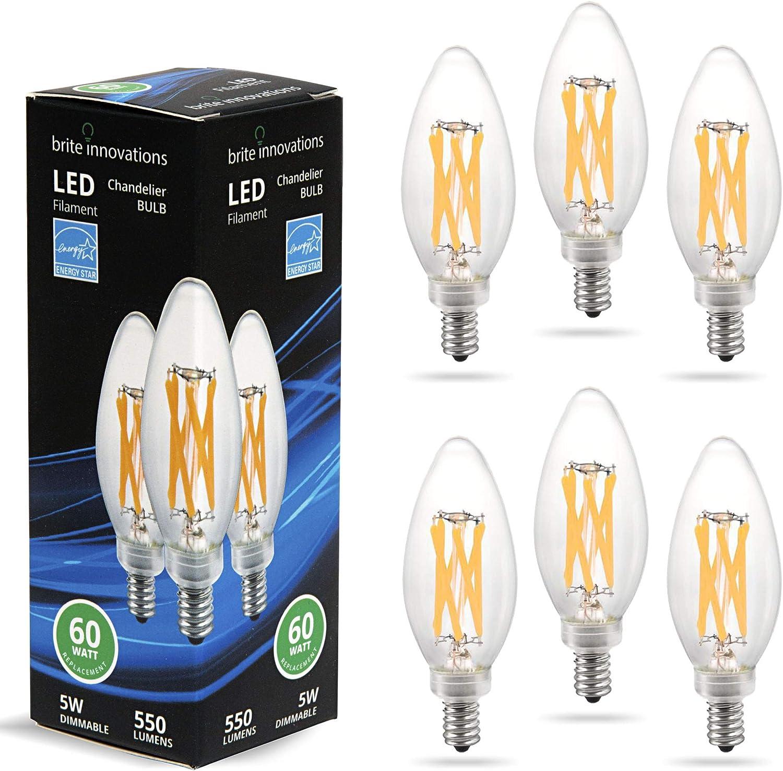 120v 5000K Bright White Light Brite Innovations E12 LED Dimmable Bulb 60 Watt Equivalent for Chandelier and Candelabra Sconces Torpedo Tip 5W Filament 550 Lumens