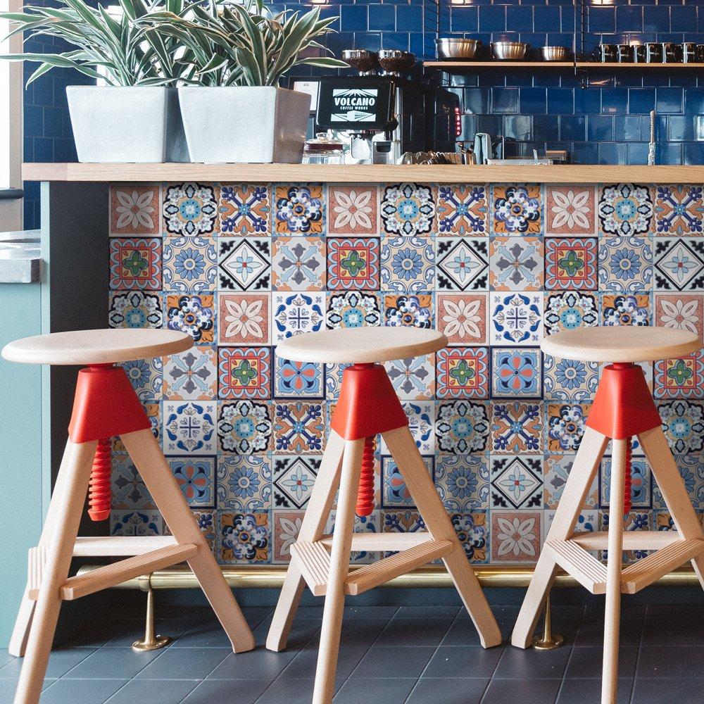 Seavish Tile Decals, Traditional Indian Tile Sticker Vinyl Peel and Stick Kitchen Backsplash for Interior TV backdrop Decor 7.8''W x 200''L/Roll Tooto