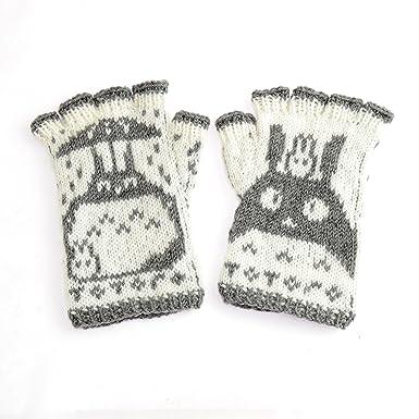 Hand Knit Kids Totoro Fingerless Gloves 100 Merino Wool Grey