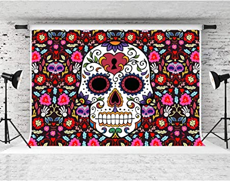 7x5ft Halloween Photo Backdrops for Pictures Dia De Los Muertos Photography Background Pirate Ship and Skeleton Skull Backdrop for Hallowmas Fiesta Party Banner Photo Booth Studio Props WSJ-155