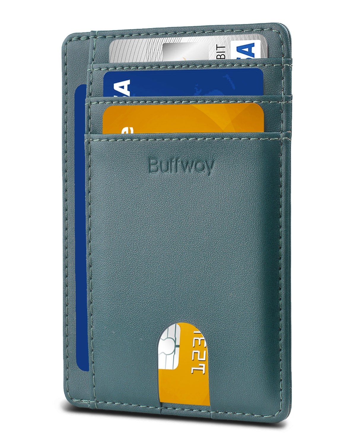 Buffway Slim Minimalist Front Pocket RFID Blocking Leather Wallets for Men Women BW-WL-VC-BL